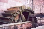 Brindley's 16 foot diameter water-wheel, which is the power source for Leek Corn Mill - Dec 2001.